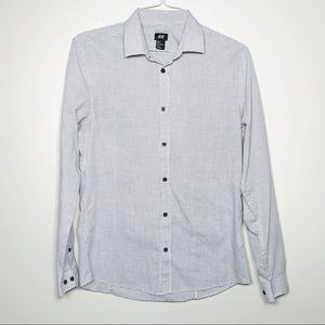 H&M Easy Iron Button Down Grid Check Shirt M